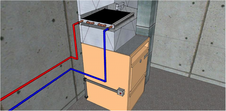 2: Convert the energy with a water-to-air heat exchanger that is installed into an existing forced air heating system.